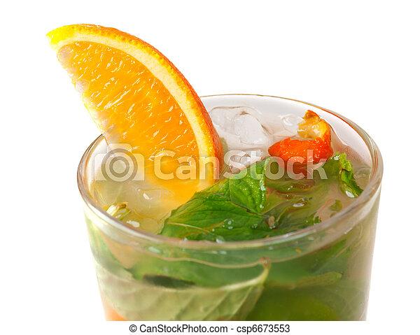 orange, mojito, closeup, cocktail. - csp6673553