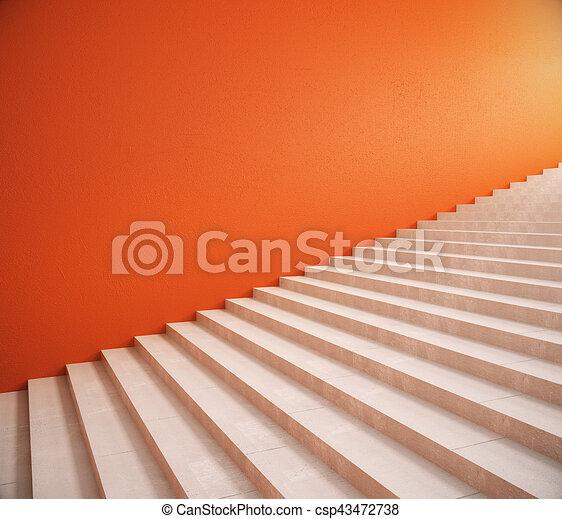 Orange, mur, escalier, vide. Haut, escaliers., mur, rendre, clair ...