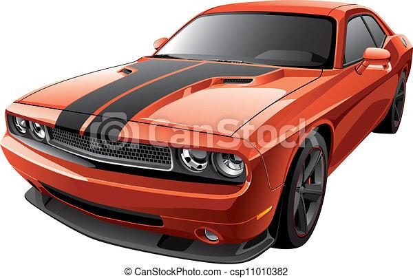orange muscle car - csp11010382