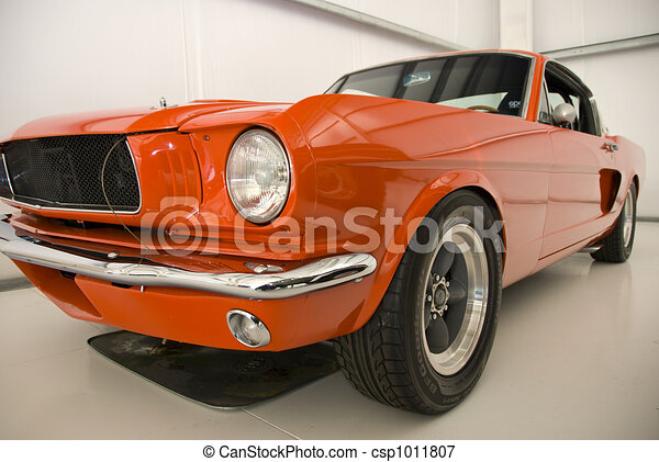 Orange Mustang Old Car Orange Muscle Car From America