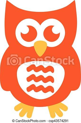 Orange owl with funny ears - csp43574291