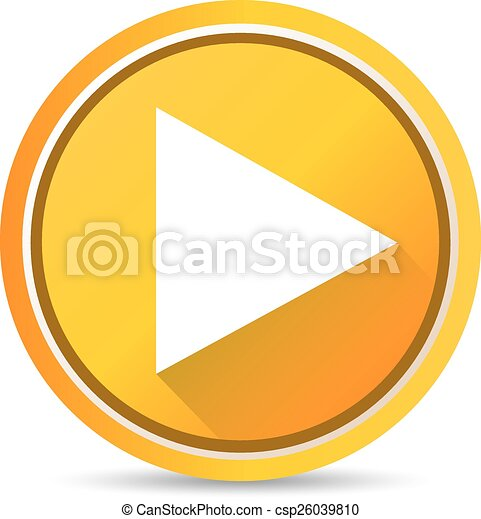 orange play button vector illustration glossy orange play button rh canstockphoto com play button vector file play button vector png