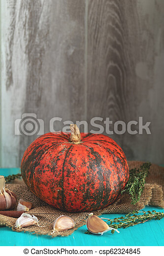 Orange Pumpkin and ingredients for tasty vegetarian cooking - csp62324845