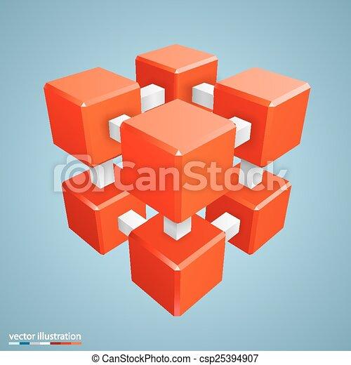 orange, résumé, cube, tridimensionnel - csp25394907