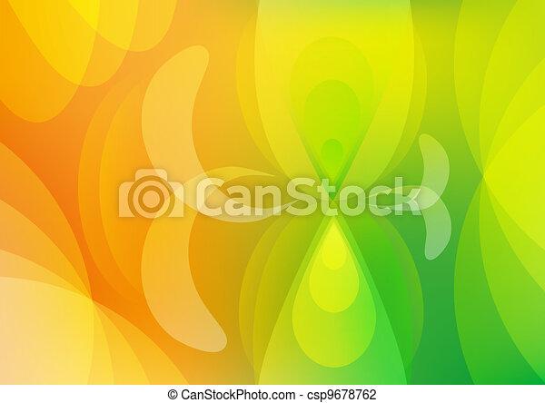 orange, résumé, papier peint, arrière-plan vert - csp9678762