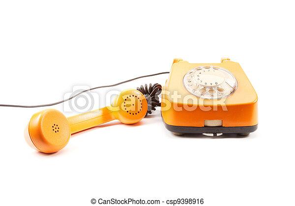 Orange retro telephone - csp9398916