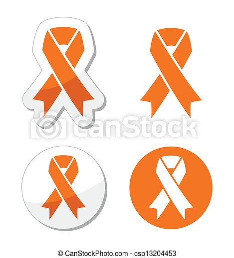 Orange ribbon - leukemia, hunger si - csp13204453