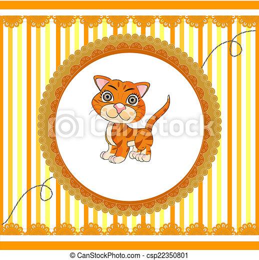 orange, rigolote, dessin animé, chat - csp22350801