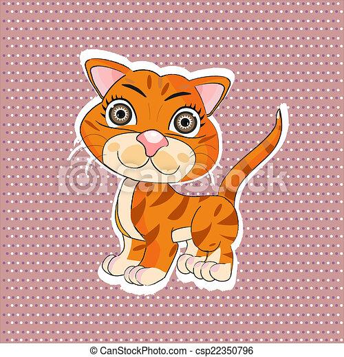 orange, rigolote, dessin animé, chat - csp22350796