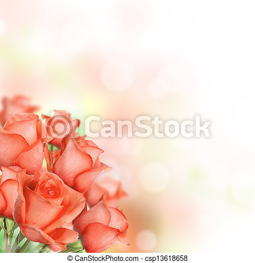 Orange roses bouquet with free space for text - csp13618658