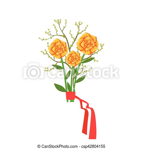 Orange Roses Flower Bouquet Tied With Red Ribbon Shop Decorative Plants Assortment Item Cartoon Vector Illustration Natural Floral Composition From