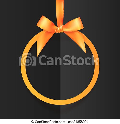 Orange round frame with silky bow and ribbon at black folded paper background - csp31858904
