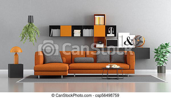 orange, salon, moderne, gris