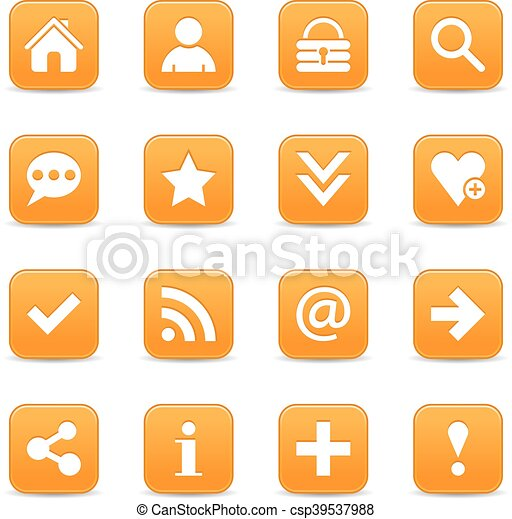 Orange satin icon web button with white basic sign - csp39537988