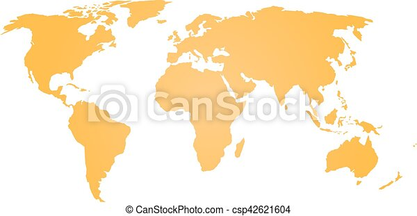 Orange silhouette of world map simple flat vector vector clipart orange silhouette of world map simple flat vector illustration gumiabroncs Images