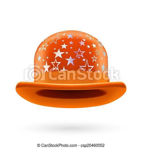Orange starred bowler hat - csp20460052