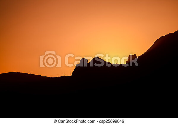 Orange Sun Setting - csp25899046