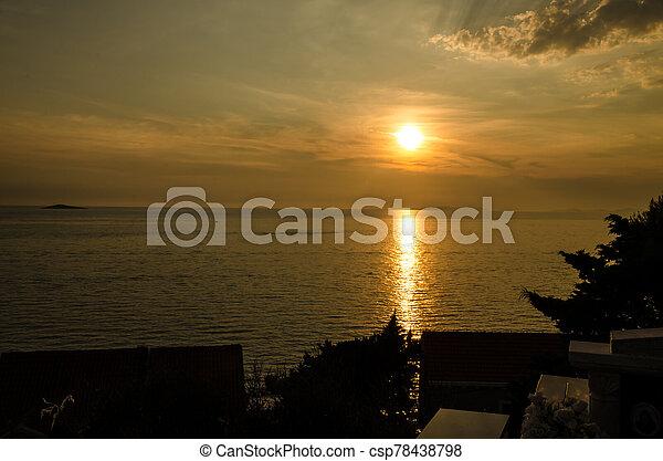 orange sunset at the sea - csp78438798