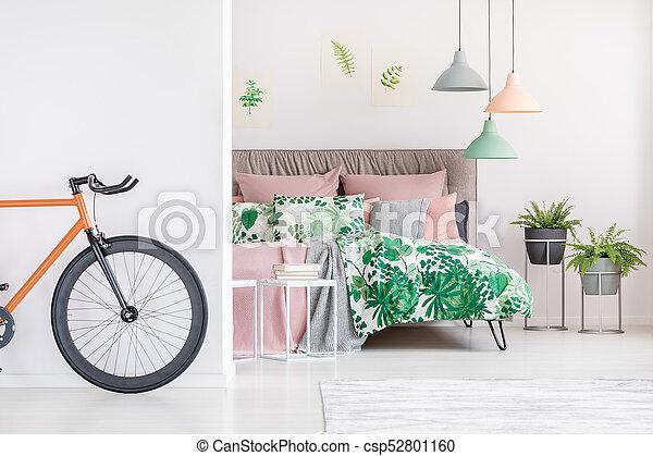 orange, vélo, noir