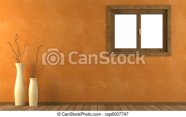 Orange wall with window - csp6007747