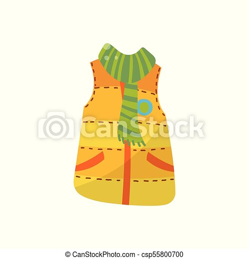54cd11f38a658 Orange warm vest with green scarf, boys wear vector illustration isolated  on a white background.