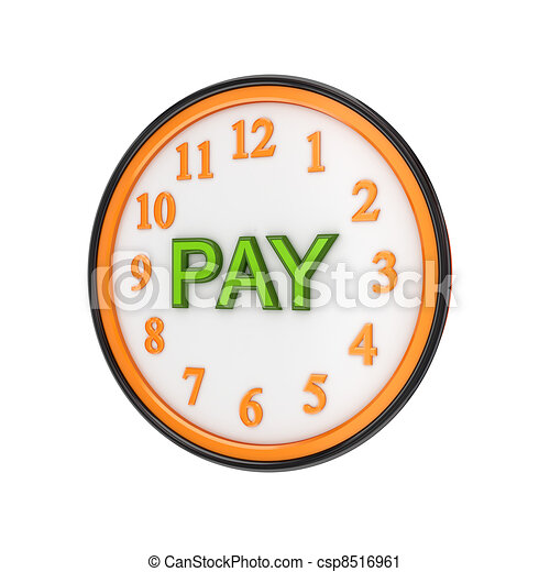orange watch and green word pay isolated on white background 3d
