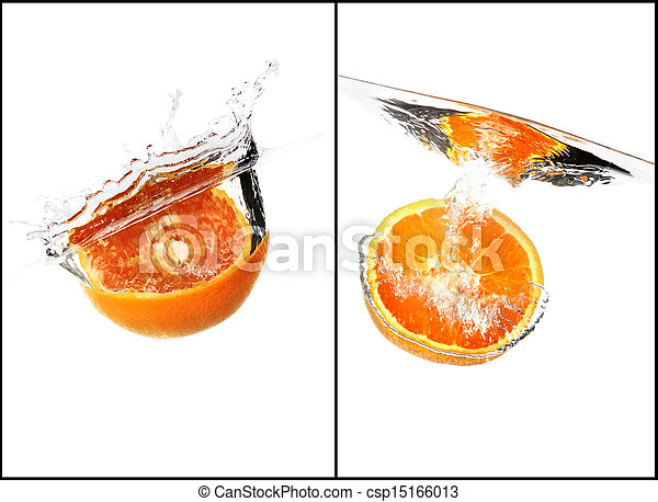 orange with water splash collage set - csp15166013