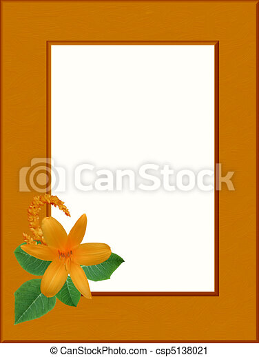 Orange wood frame with live flowers (my), white place for text.