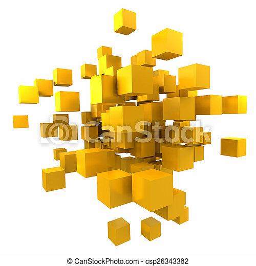 orange-yellow, fondo, cubico - csp26343382