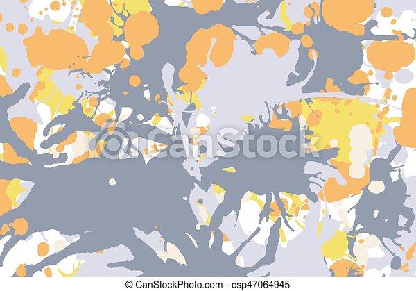 Orange yellow grey ink splashes background - csp47064945