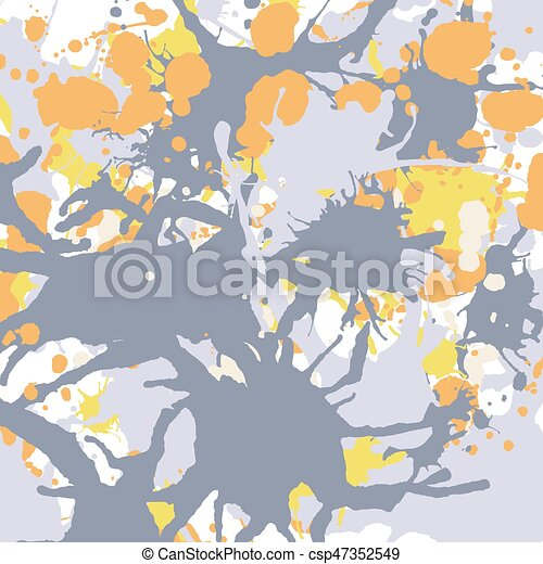 Orange yellow grey ink splashes background square - csp47352549