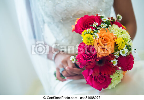 Orange yellow white wedding bouquet beautiful orange red and orange yellow white wedding bouquet csp51088277 mightylinksfo