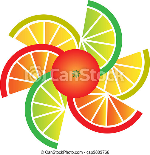 orange, zitrone, limette, pampelmuse, scheiben - csp3803766