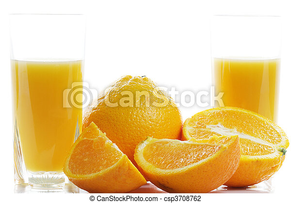 Oranges and two glasses of juice - csp3708762