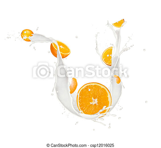 Oranges in milk splash, isolated on white background - csp12016025