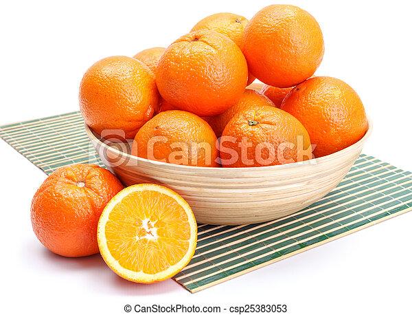 Oranges in wooden bowl - csp25383053