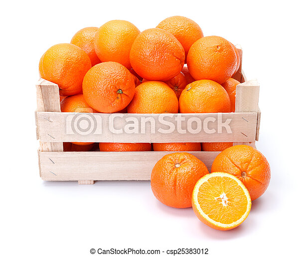 Oranges in wooden box - csp25383012