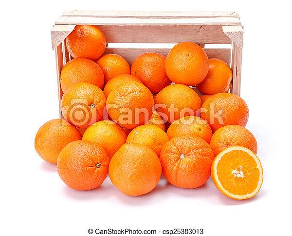 Oranges in wooden crate - csp25383013