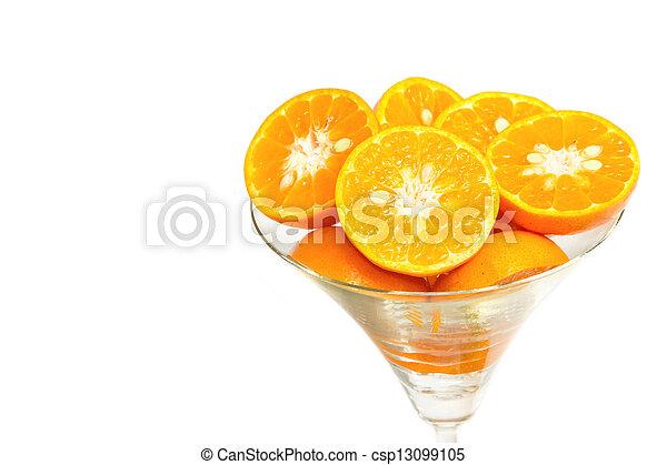 Oranges slice in cocktails glass on white background - csp13099105