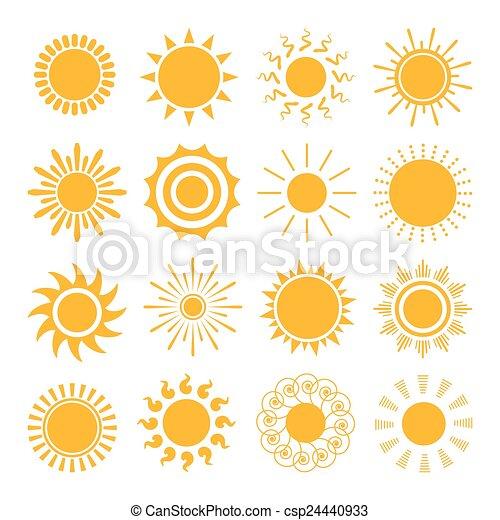oranjekleurige zon, iconen - csp24440933