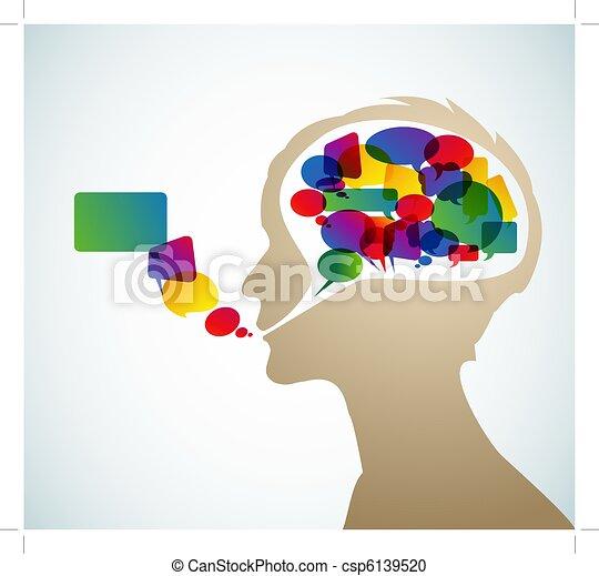 orateur, résumé, silhouette, bulles - csp6139520