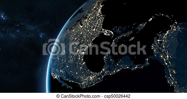 Orbital view on Earth from space - csp50026442