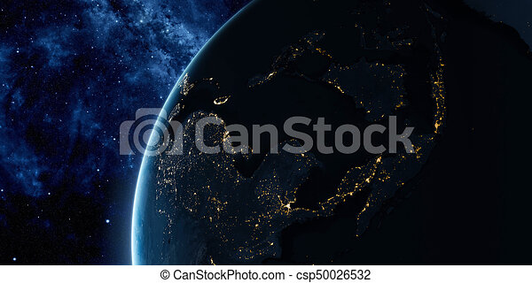 Orbital view on Earth from space - csp50026532