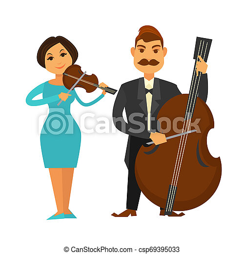 Orchestra members with violin and violoncello isolated illustration - csp69395033