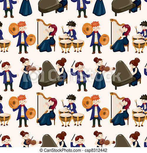 orchestra music player seamless pattern - csp8312442