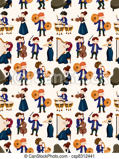 orchestra music player seamless pattern - csp8312441