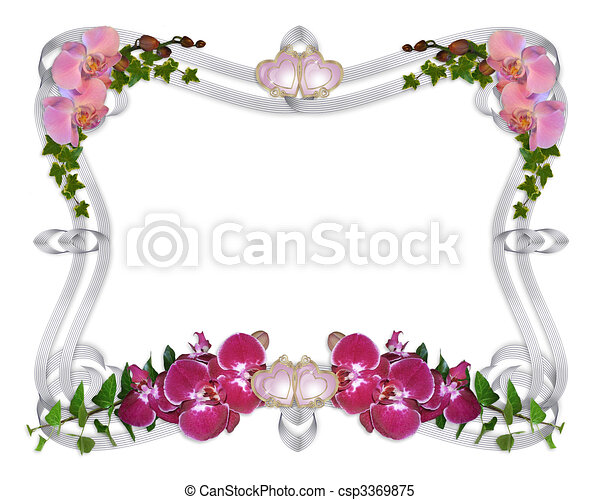 Orchids and ivy wedding invitation border - csp3369875