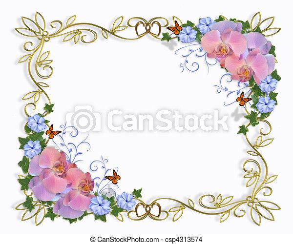 Orchids border wedding invitation - csp4313574