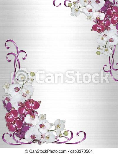 orchids, uitnodiging, grens, trouwfeest - csp3370564