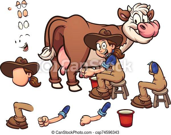 ordeñar, vaca - csp74596343